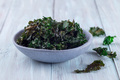 Easy three ingredient baked green kale chips with sea salt and olive oil, in gray bowl, horizontal - PhotoDune Item for Sale