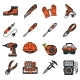 Equipment and Outfit of an Electrician Icons - GraphicRiver Item for Sale