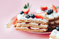 Delicious sweet flaky snack with berries on top on a plate. A sweet snack for any holiday. Holiday - PhotoDune Item for Sale