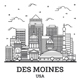 Outline Des Moines Iowa City Skyline with Modern Buildings Isolated on White. - GraphicRiver Item for Sale