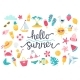 Summer Set with Lettering and Cute Beach Elements - GraphicRiver Item for Sale