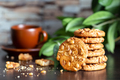Oatmeal cookies with nuts on table with cup of coffee - PhotoDune Item for Sale