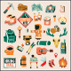 Hiking elements vector stickers and icons. Isolated vector images. - GraphicRiver Item for Sale