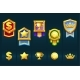 Award Gold Badges with Icons for the Winner Ui - GraphicRiver Item for Sale