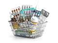 Shopping basket full of medicines, pills, blisters and vaccine isolated on white. - PhotoDune Item for Sale
