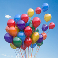 Colorful balloons bunch  floating in the sky. - PhotoDune Item for Sale