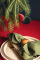 Christmas Table Setting with Spruce Branches. - PhotoDune Item for Sale