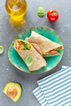 Wrapped vegetarian sandwich on plate - PhotoDune Item for Sale