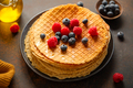Crispy round waffles with berries - PhotoDune Item for Sale