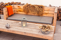Outdoor restaurant terrace with wooden furniture - PhotoDune Item for Sale