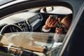 Stylish black businessman with sunglasses inside of car - PhotoDune Item for Sale