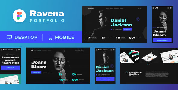 Ravena – Designer & Photographer Figma Portfolio Template