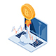 Isometric Bitcoin Rocket Flying Up From Laptop - GraphicRiver Item for Sale