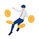 Isometric Businessman Floating with Cryptocurrency Coin Symbol - GraphicRiver Item for Sale