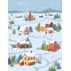 Winter Landscape Rural City Village in Snow Houses - GraphicRiver Item for Sale