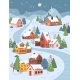 Winter Christmas Landscape at Night Cottage Houses - GraphicRiver Item for Sale