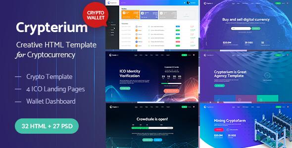 Crypterium - pakiet HTML kryptowalut i stron docelowych ICO + szablon pulpitu nawigacyjnego portfela