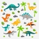 Vector Cute and Funny Flat Dinosaurs  Trex - GraphicRiver Item for Sale