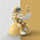 Astronaut Working on Laptop with Light Bulb - GraphicRiver Item for Sale