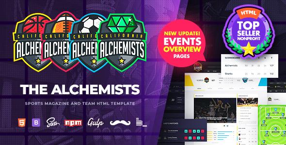 Alchemicy - klub sportowy, eSport i gry oraz szablon HTML wiadomości