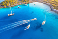 Aerial view of beautiful yachts and boats on the sea at sunset - PhotoDune Item for Sale