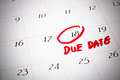 Due Date day, the 18th, Red circled mark on a white calendar - PhotoDune Item for Sale