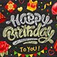 Happy Birthday Card With Chalk Lettering - GraphicRiver Item for Sale