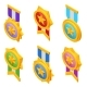 Isometric Set Iconcs of Gold Medal with Star and - GraphicRiver Item for Sale