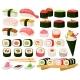 Cartoon Asian Cuisine Rolls Sushi Sashimi Dishes - GraphicRiver Item for Sale