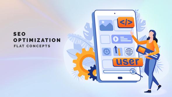 SEO optimization - Flat Concept