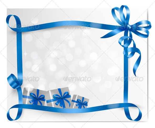 Holiday background with blue gift bow with boxes