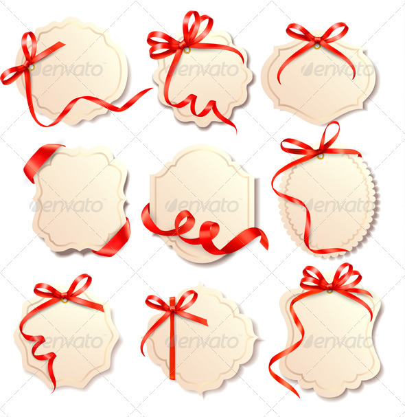 Set of Beautiful Cards with Eed Gift Bows