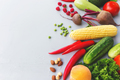 Flat lay with different vegetables, fruits, berries, nuts, spices, herbs - PhotoDune Item for Sale