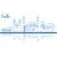 Outline Puebla Mexico City Skyline with Blue Buildings and Reflections. - GraphicRiver Item for Sale