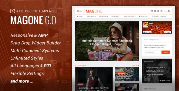 MagOne - Responsive News & Magazine Blogger Template