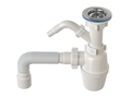 Siphon with bottle trap and pvc plastic pipes for sinks isolated on white. - PhotoDune Item for Sale