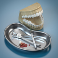 Dentist tools for dental care and human brace model. - PhotoDune Item for Sale