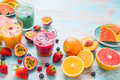 Variation of smoothies and refreshing drinks with fresh fruits for hot summer - PhotoDune Item for Sale