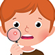 Teenage Boy with a Problematic Skin Examines a Pimple Through a Magnifying Glass - GraphicRiver Item for Sale