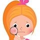 Teenage Girl with a Problematic Skin Examines a Pimple Through a Magnifying Glass - GraphicRiver Item for Sale