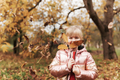 Little blonde girl plays with yellow autumn leaves in the garden, smile, has fun - PhotoDune Item for Sale