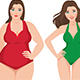 Woman Before and After Weight Loss on A White Background - GraphicRiver Item for Sale