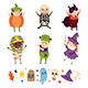 Children in costumes of creepy Halloween creatures, characters. - GraphicRiver Item for Sale