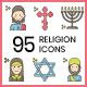 95 Religion Icons | Hazel Series - GraphicRiver Item for Sale