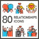 80 Relationships Icons | Aesthetics Series - GraphicRiver Item for Sale