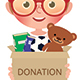 Children Boy and Girl Holding Boxes of Donate Filled with Toys and Books - GraphicRiver Item for Sale