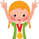 Children Sportsmen in Sport Clothes with Medals for Victory Stand on the Pedestal - GraphicRiver Item for Sale