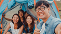 Group of Asia best friends teenagers take selfie picture and video with phone camera enjoy. - PhotoDune Item for Sale