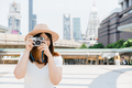 Happy beautiful traveler asian woman carry backpack. - PhotoDune Item for Sale