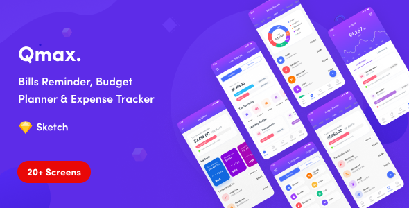 Download Qmax - Budget Planner & Expense Tracker App UI Kit Nulled